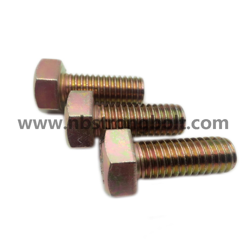 DIN933 Hex Bolt Cl. 8.8 with Yellow Zinc Plated M14X35/China hex Bolt manufacturer,China bolts factory,China hex bolts factory