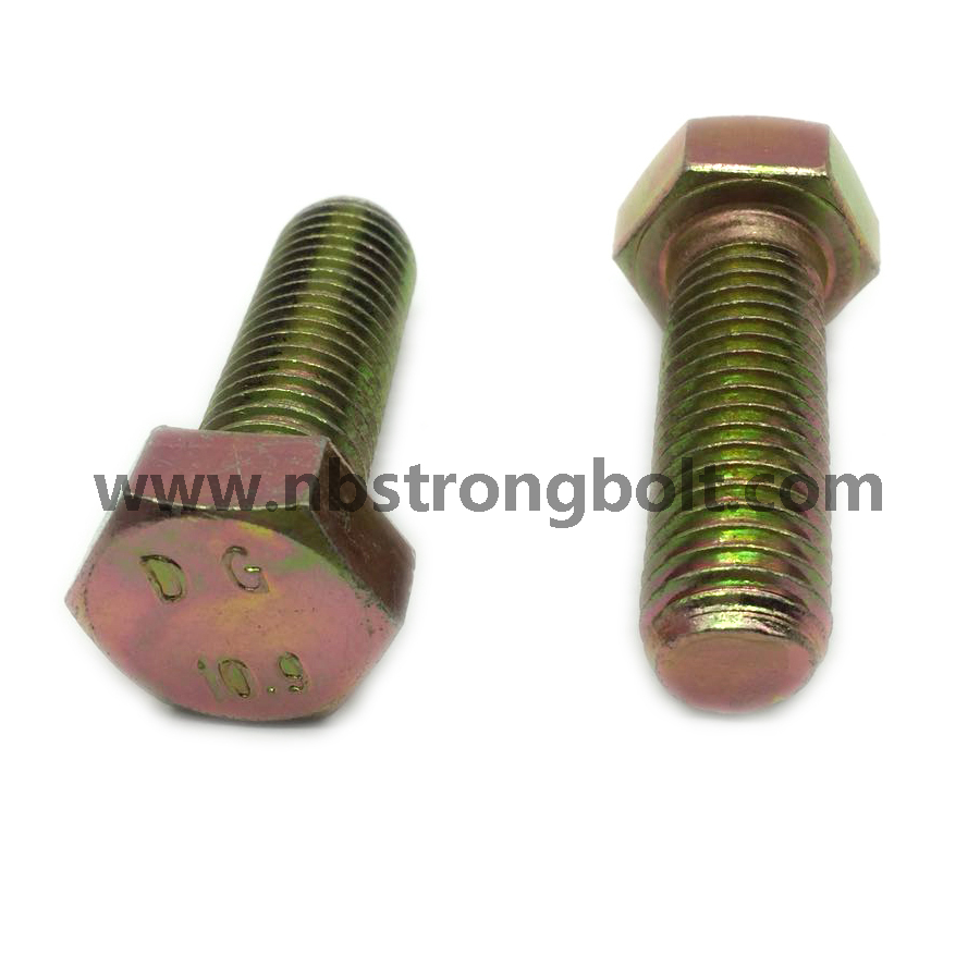 DIN933 Hex Bolt Cl. 8.8 Yellow Zinc Plated/China hex Bolt manufacturer,China bolts factory,China hex bolts factory