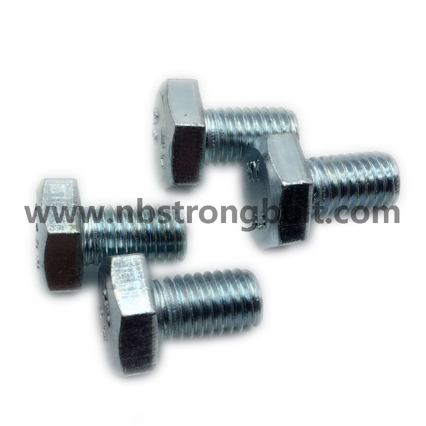 DIN933 Hex Bolts Gr. 8.8 with White Zinc Plated Cr3+ M10X16、China hex Bolt manufacturer,China bolts factory,China hex bolts factory