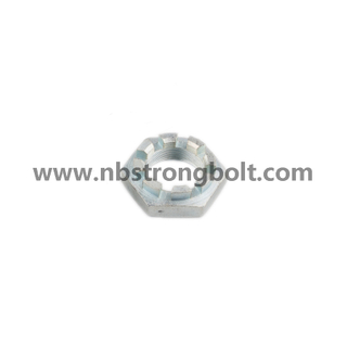 DIN935 Hexagon Slotted Nut with White Zinc Plated Cr3+ M10/China hex nut factory,China slotted nut manufacturer