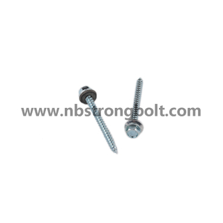 "Hex Washer Hight Head Shoulder Under Head Post Ame Screws Type 17 Cut Point Assembled with Bonded Washer, C1022 Steel. Zp #9-15X2"" Type A/China self drilling screw factory,China screw factory"