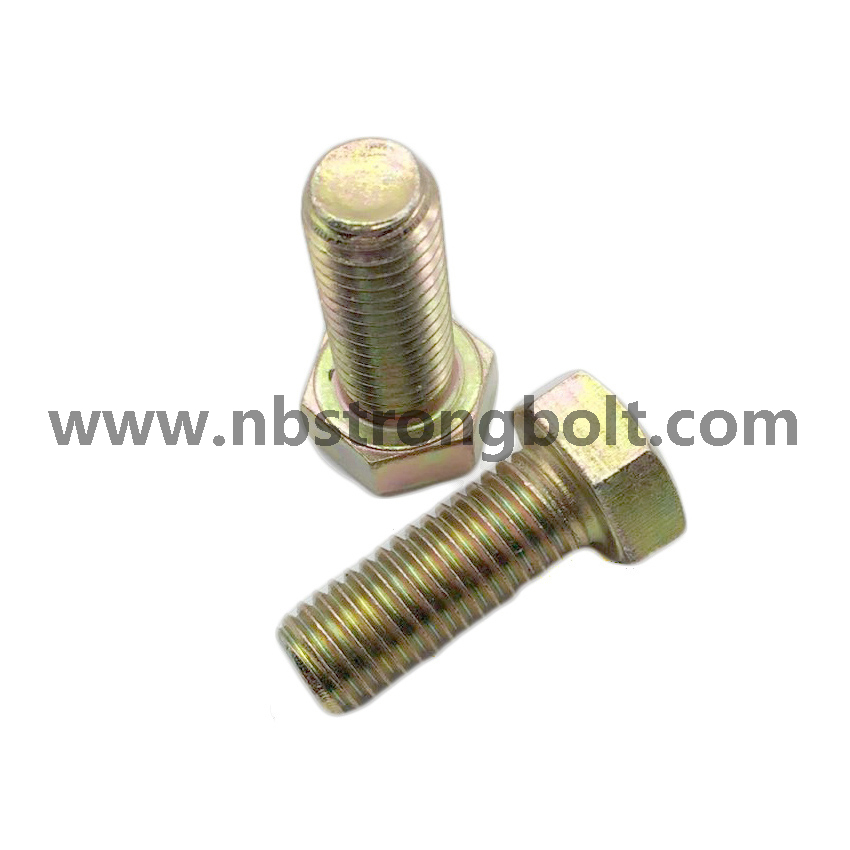 DIN933 Hex Bolt Cl. 8.8 with Yellow Zinc/China hex Bolt manufacturer,China bolts factory,China hex bolts factory